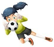 Ein Mädchen, das den Fußball fängt stock abbildung