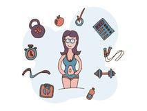 Ein Mädchen, das an Eignung und Sport teilnimmt, macht Pläne während der Zukunft, Pläne eine Diät Auch im corel abgehobenen Betra lizenzfreie abbildung