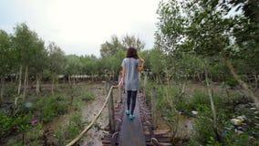 Ein Mädchen, das an einem regnerischen Tag auf einer hölzernen Brücke geht stock video