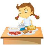 Ein Mädchen, das Frühstück auf weißem Hintergrund isst vektor abbildung