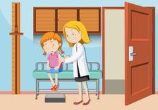 Ein Mädchen, das Impfstoff am Krankenhaus hat vektor abbildung