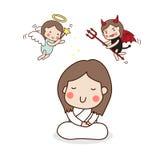 Ein Mädchen, das mit Engel und Teufel meditiert Lizenzfreie Stockfotografie