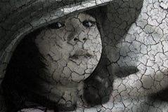 Ein Mädchen in der Erde Lizenzfreies Stockfoto