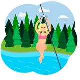 Ein Mädchen in einem rosa Badeanzug steigt mit einem ReißverschlussLine ab Stock Abbildung