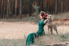 Ein Mädchen in einem Smaragdkleid und in Blumen, die in ihr Haar gesponnen werden, sitzt vom Wald Weimaraner gehend lizenzfreie stockfotografie