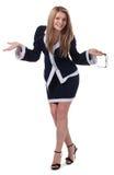 Ein Mädchen in einer strengen Geschäftsart. Lizenzfreie Stockbilder