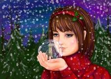 Ein M?dchen h?lt eine Schneekugel stock abbildung