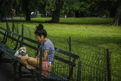 Ein Mädchen hört Musik mit ihrem Haustier in Central Park, New York Lizenzfreie Stockfotos