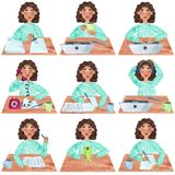Ein Mädchen mit dem dunklen gelockten Haar im Blau, Satz des Büros und Hochschultätigkeiten stock abbildung