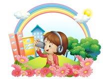 Ein Mädchen mit einem Kopfhörer und einem Telefon mit Kamera vektor abbildung