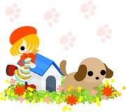 Ein Mädchen mit einem roten Hut und einem Hund Lizenzfreies Stockbild