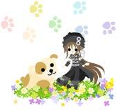Ein Mädchen mit einem schwarzen Hut und einem Hund Stockfotografie