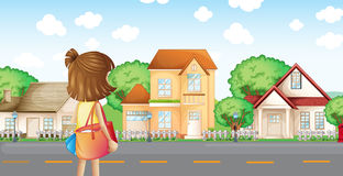 Ein Mädchen mit einer Tasche über der Nachbarschaft lizenzfreie abbildung
