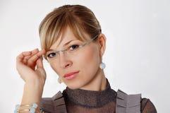 Frau in den Gläsern Lizenzfreies Stockfoto
