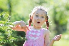Ein Mädchen mit 5-Jährigen in einem rosa Kleid im Wald Lizenzfreies Stockfoto