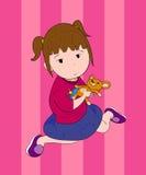 Ein Mädchen mit Puppe Lizenzfreies Stockfoto