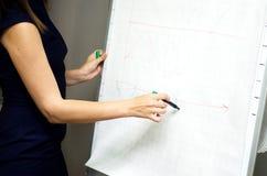 Ein Mädchen zeichnet ein Einkommens- aus geschäftlicher Tätigkeitdiagramm auf dem whiteboard lizenzfreie stockbilder