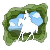 Ein Mädchenreitpferd nahe kleines Mädchen reitet ein Pferd Dressage, das Pferdenspringen und Polopferde und -mitfahrer vector Sch lizenzfreie abbildung