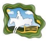 Ein Mädchenreitpferd nahe kleines Mädchen reitet ein Pferd Dressage, das Pferdenspringen und Polopferde und -mitfahrer vector Sch vektor abbildung