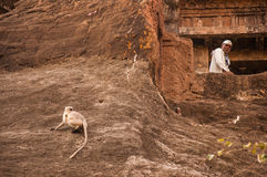 Ein Mönch und ein Affe in Ajanta Stockfotografie
