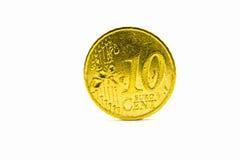 Ein Münzenwert von zehn Eurocents Stockfotografie