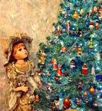 Ein magischer Weihnachtsbaum Glas des Rotweins und der Kerze Malendes nasses Aquarell auf Papier Naive Kunst Abstrakte Kunst lizenzfreie abbildung