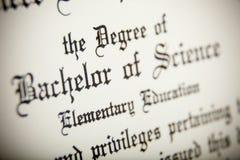 Ein Makro eines Bakkalaureus der Wissenschaften Grad Lizenzfreie Stockbilder