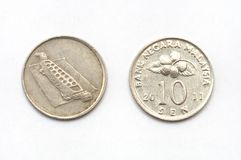Ein Malaysia zehn-Cent-Münze lizenzfreie stockfotografie