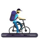 Ein Mann auf einem Fahrrad Ein Radfahrertourist reitet entlang die Straße, mit einem großen touristischen Rucksack lizenzfreie abbildung
