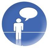 Ein Mann beim Sprechen über einen Kreis-Hintergrund Stockbild