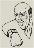 Ein Mann betrachtet die Uhr auf seinem Arm Vektor Abbildung