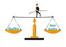 Ein Mann in den Balancen selbst in einer Gerechtigkeit Scale Editable Clipart stock abbildung