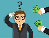 Ein Mann denkt, um ein Bestechungsgeld anzunehmen Lizenzfreie Stockfotos