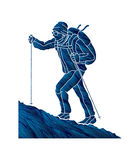 Ein Mann, der auf dem Berg wandert vektor abbildung