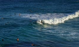 Ein Mann, der auf weiße Schaumwelle im blauen Ozean mit den schwimmenden Leuten surft lizenzfreie stockfotos
