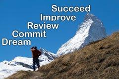 Ein Mann, der die Spitze des Matterhorns im Abstand betrachtet Lizenzfreie Stockfotos