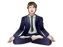 Ein Mann, der in einem Anzug in einer Lotoshaltung meditiert Lineares Bild mit einer Steigung auf einem weißen Hintergrund stock abbildung