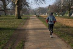 Ein Mann, der in einen Park läuft stockbilder