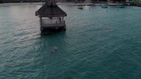 Ein Mann, der im tropischen Ozean neben einem hölzernen Dock in Cancun schwimmt stock video footage