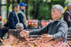 Ein Mann, der Meditation Fuxing-Parkshanghai-Porzellan ausübt Stockfotografie