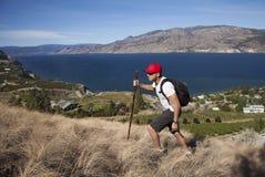 Ein Mann, der mit Lakeview-Hintergrund wandert Stockbilder
