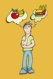 Ein Mann, der zwischen dem Essen gesund oder ungesunder Fertigkost wählt lizenzfreie abbildung