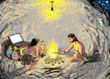 Ein Mann, eine Frau und ein Kind sitzen um das Feuer in der Höhle Lizenzfreie Abbildung