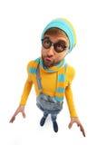 Ein Mann in einer gelben Strickjacke und im Overall Lizenzfreies Stockfoto