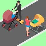 Ein Mann geht mit einem Spaziergänger und für Bequemlichkeit verwendet ein hoverboard Stock Abbildung