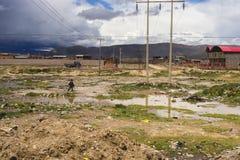 Ein Mann geht sein Fahrrad über der bolivianischen Landschaft Lizenzfreie Stockfotos
