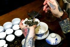 Ein Mann gießt Tee während einer Teezeremonie Stockbild