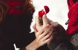 Ein Mann im Liebesantrag, zum er zu seiner Frau zu heiraten im Freien Winter Romanze, Ring als Geschenk stockbilder
