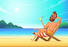 Ein Mann liegt auf einem Ruhesessel auf einem sandigen Strand, trinkt ein Cocktail und entspannt sich Ferien in Meer, Illustratio Stock Abbildung