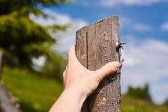 Ein Mann möchte über einen Zaun auf dem Gebiet springen Nahaufnahmeansicht der Hand Lizenzfreie Stockbilder
